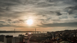 sunset over 25 the Abril Bridge