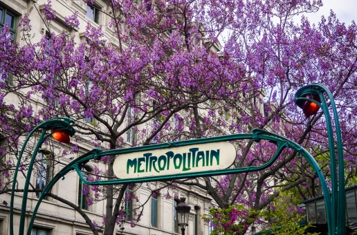 Metro and lilacs