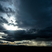 dramatic skies over the steppe