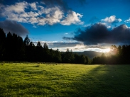 camp site at Terelj village at sunset
