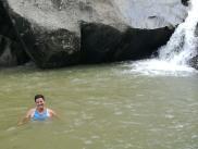 Swimming in a waterfall