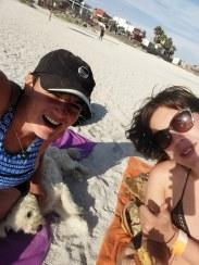 with Julia and a random dog on the beach