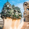 Casa Milà rooftop and chimneys, decorated with shards from bottles of champagne drunk at the building's opening party