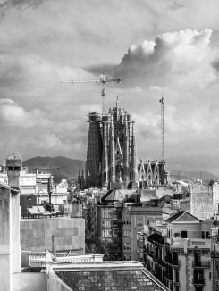 Sagrada Familia from the roof of Casa Milà